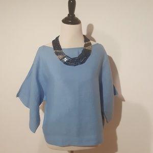 Zara blue linen top